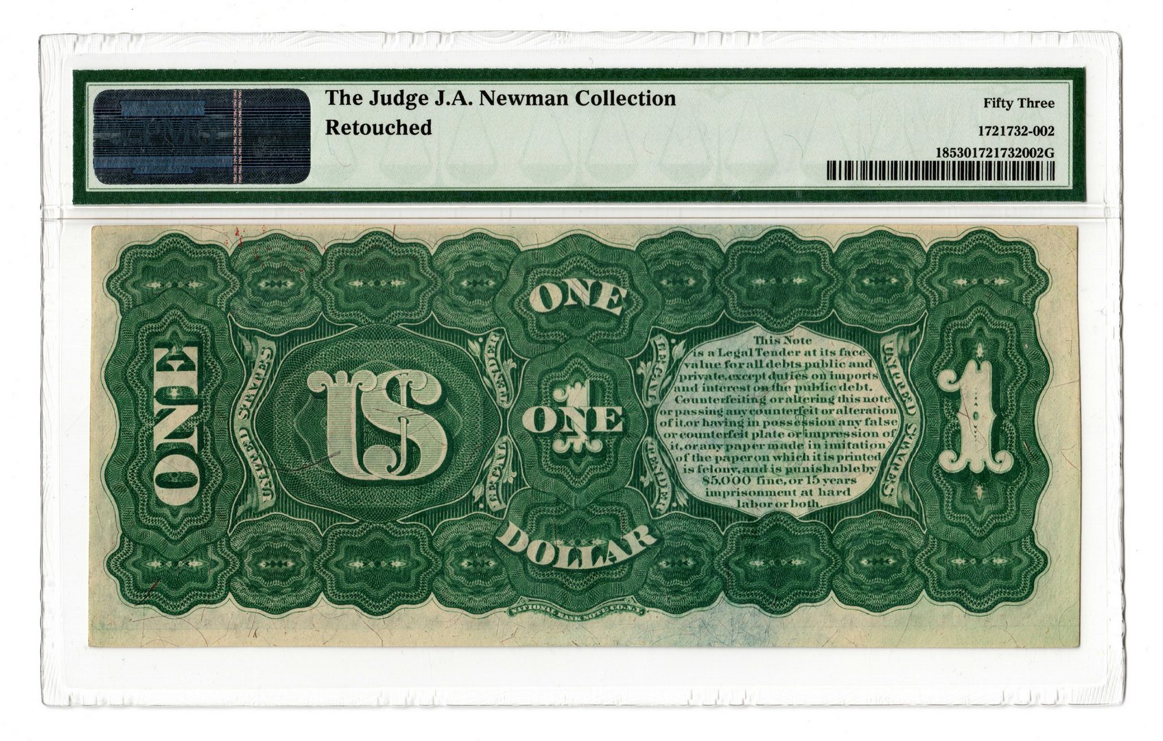 "Lot 12: 1869 U.S. $1 ""Rainbow"" Legal Tender Note, Star"