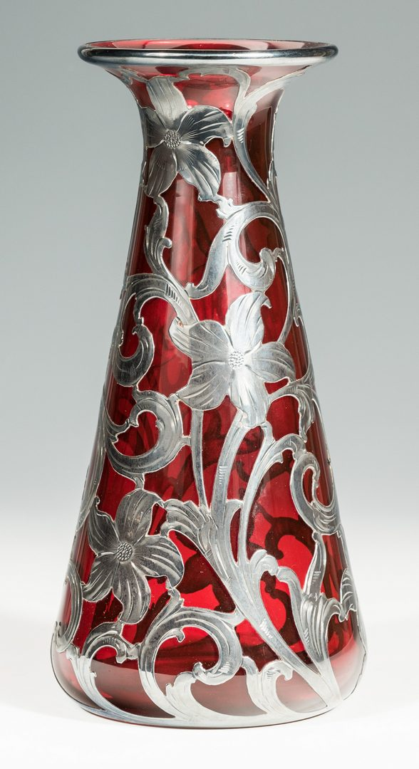 Lot 133: Ruby Glass Vase with Sterling Overlay
