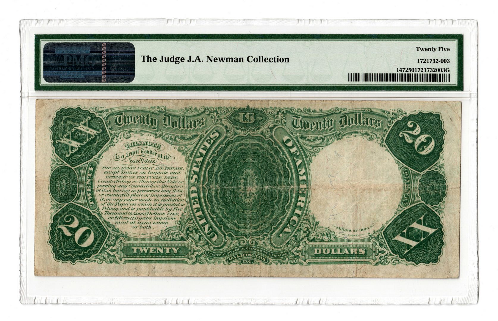 Lot 13: 1880 U.S. $20 Legal Tender Note