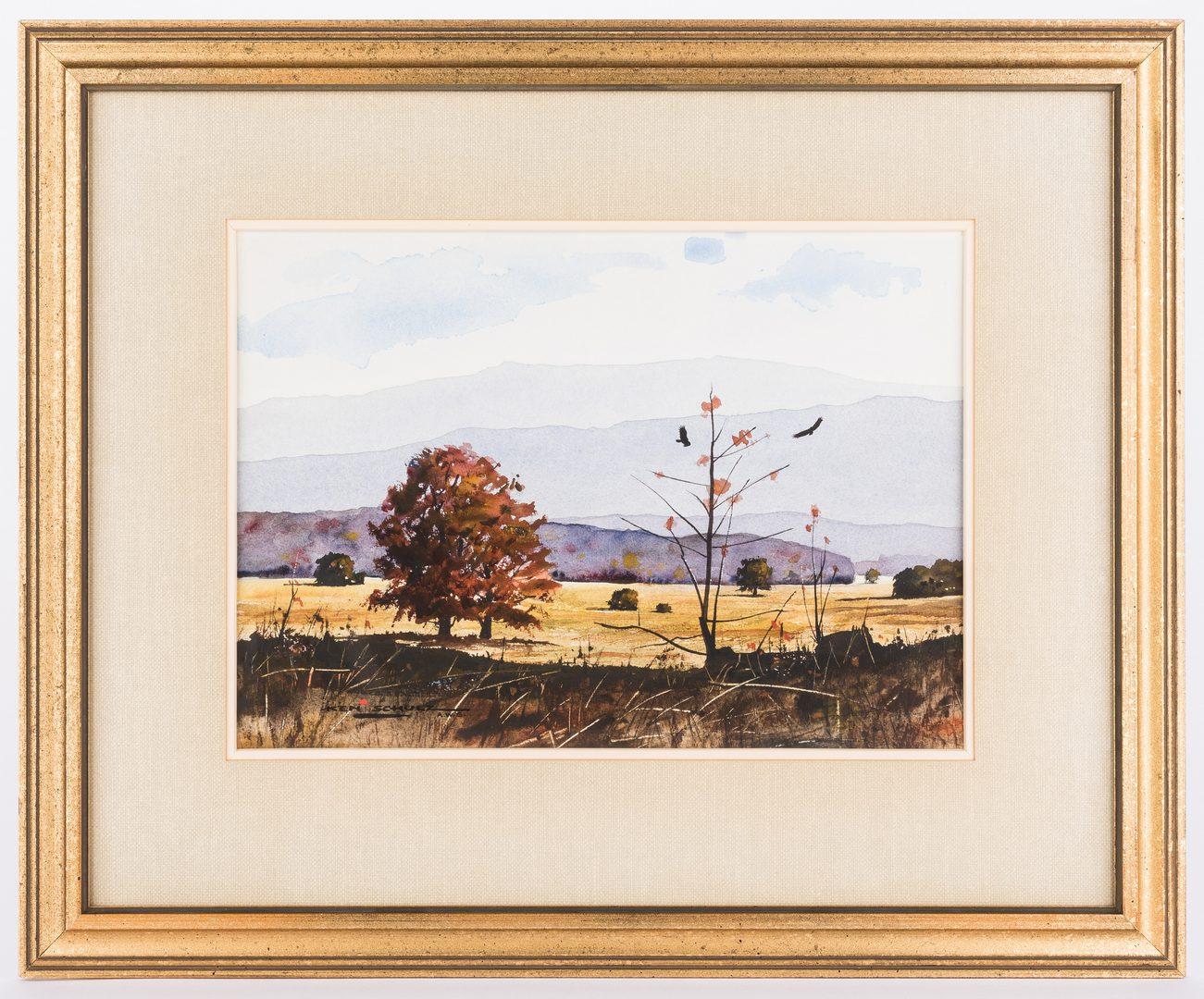 Lot 140: Ken Schulz TN Mountain Watercolor & Print