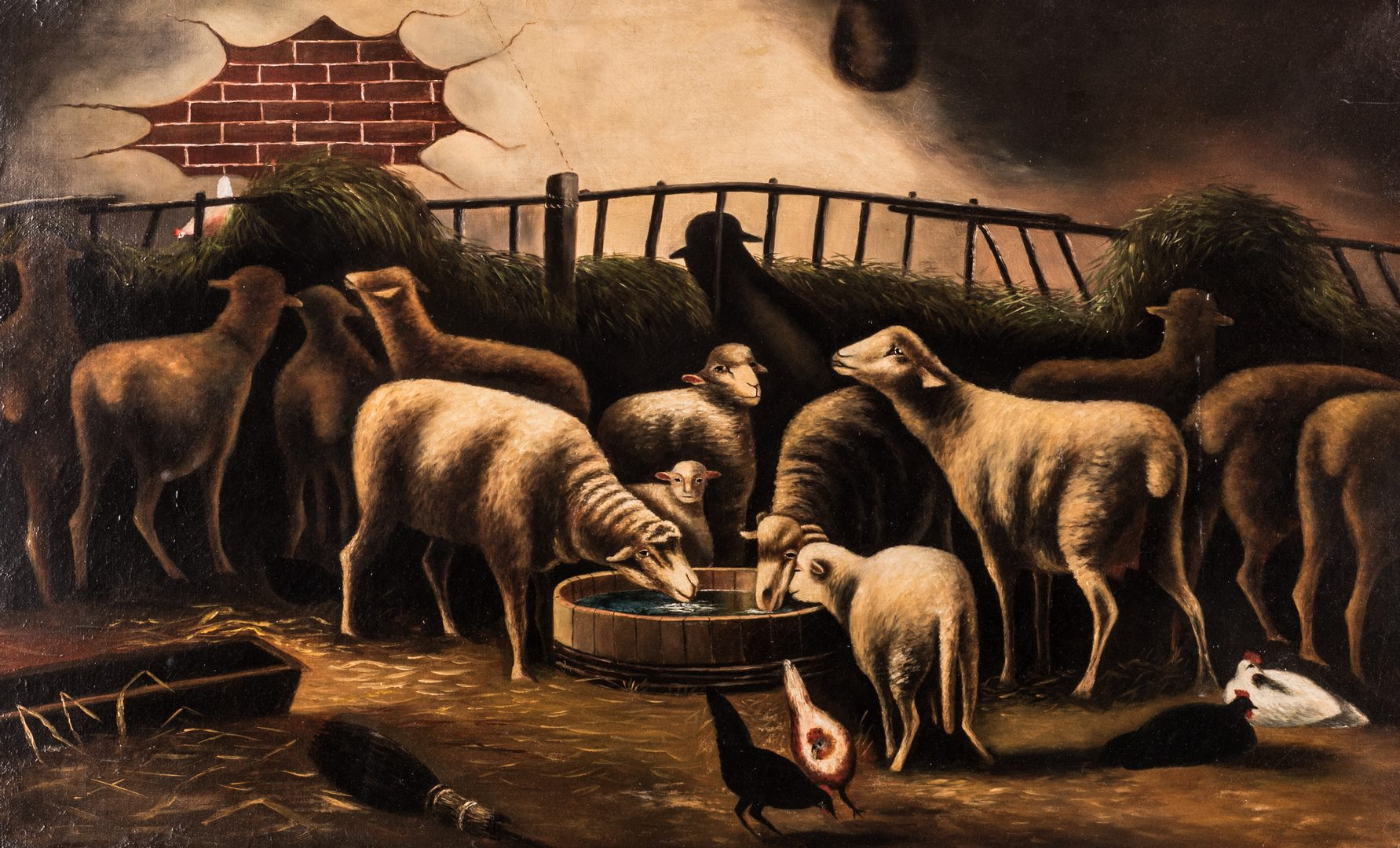 Lot 148: American School, O/C, Flock of Sheep