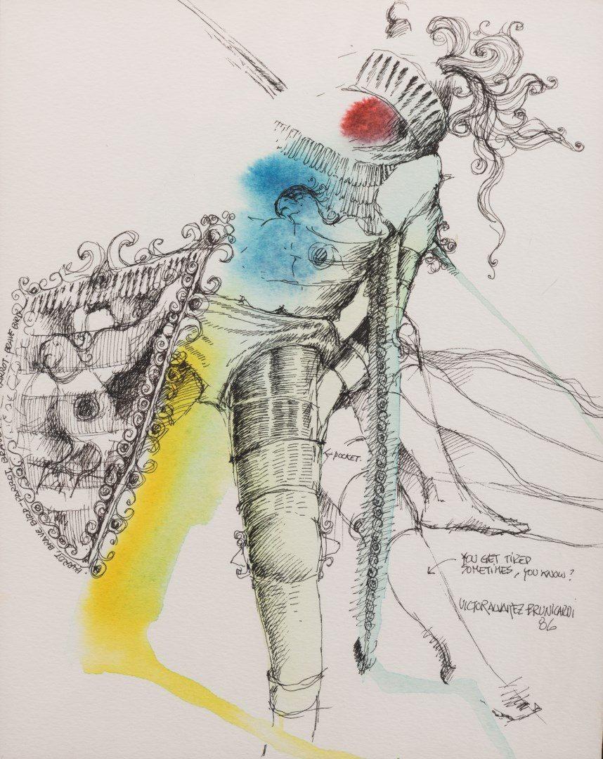 Lot 149: 6 Victor Alvarez Brunicardi Watercolors of Knights