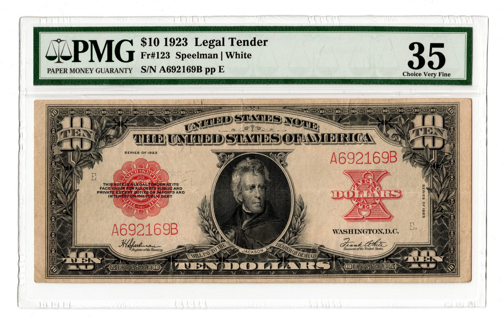 "Lot 14: 1923 U.S. $10 ""Poker Chip"" Legal Tender Note"
