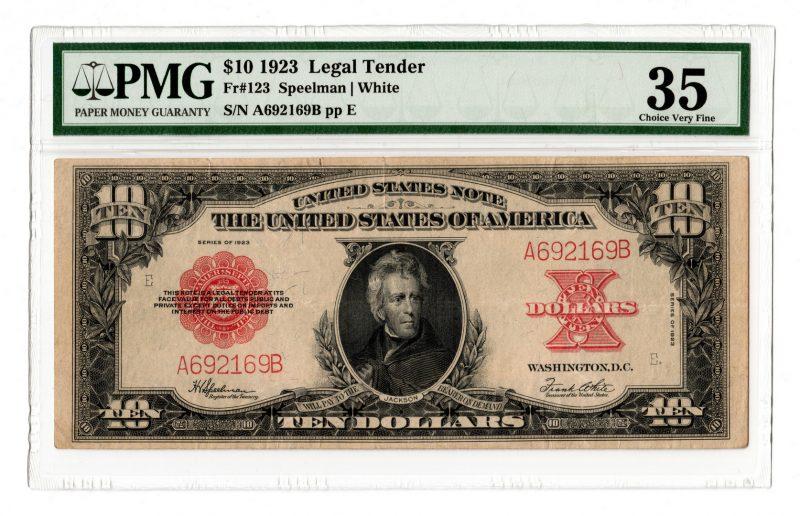 "Lot 14: 1923 U.S. $10 ""Poker Chip"" Legal Tender Note"