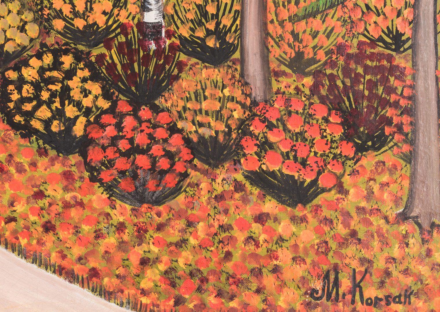 Lot 152: M. Korsak Painting – Autumn Landscape