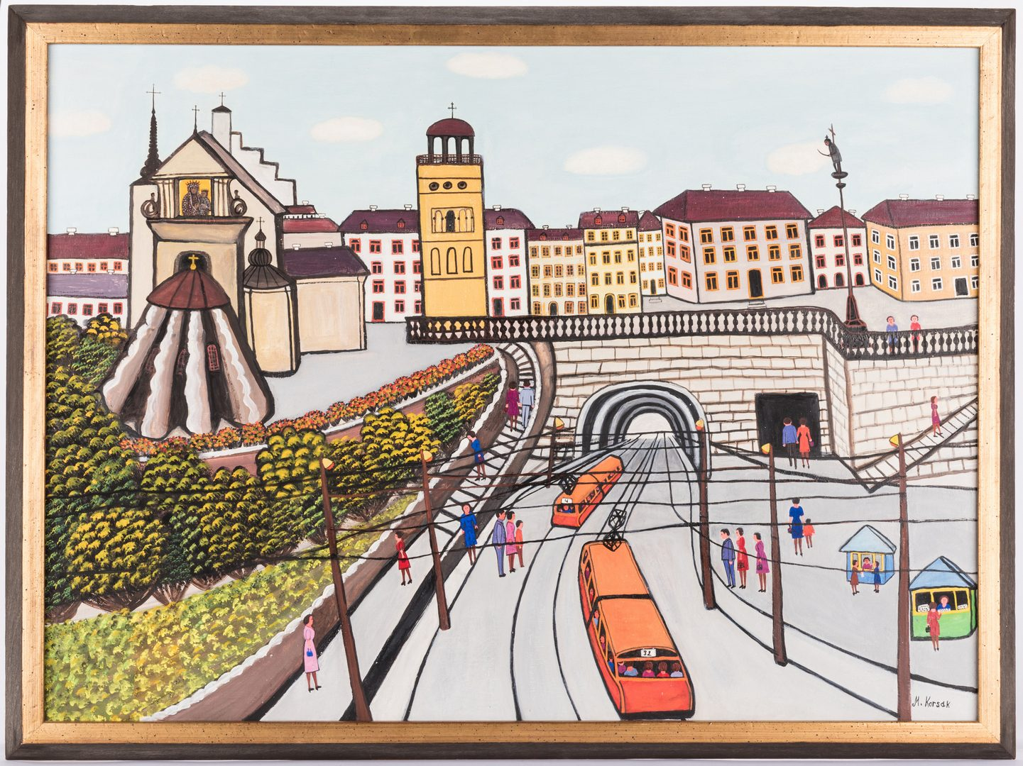 Lot 153: M. Korsak Painting – Cityscape