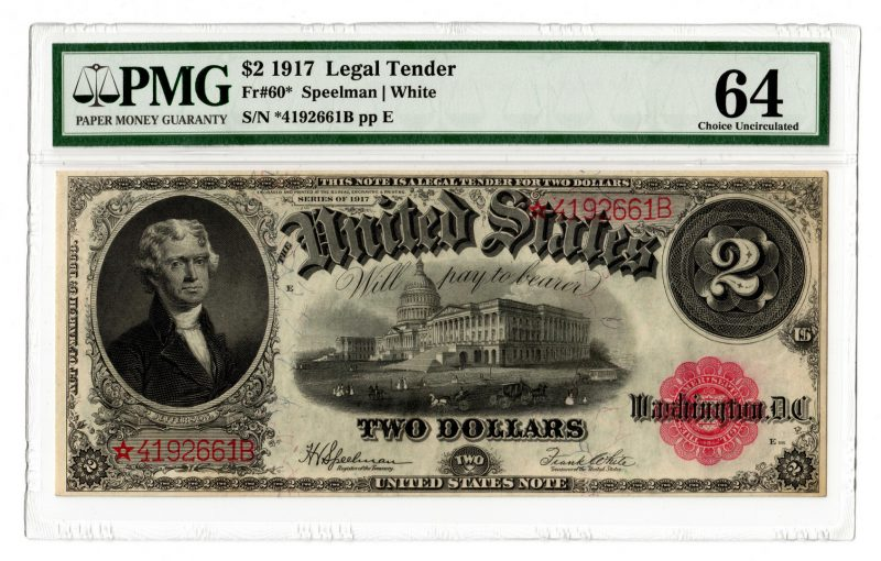 Lot 15: 1917 U.S. $2 Legal Tender Note