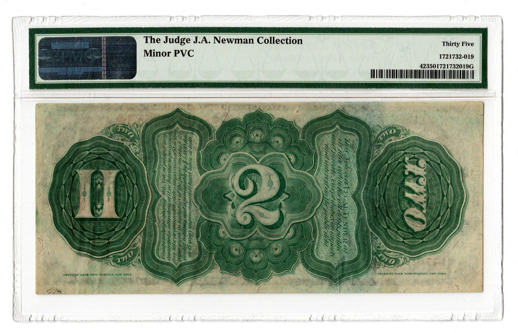 "Lot 16: 1869 U.S. $2 ""Rainbow"" Legal Tender Note"
