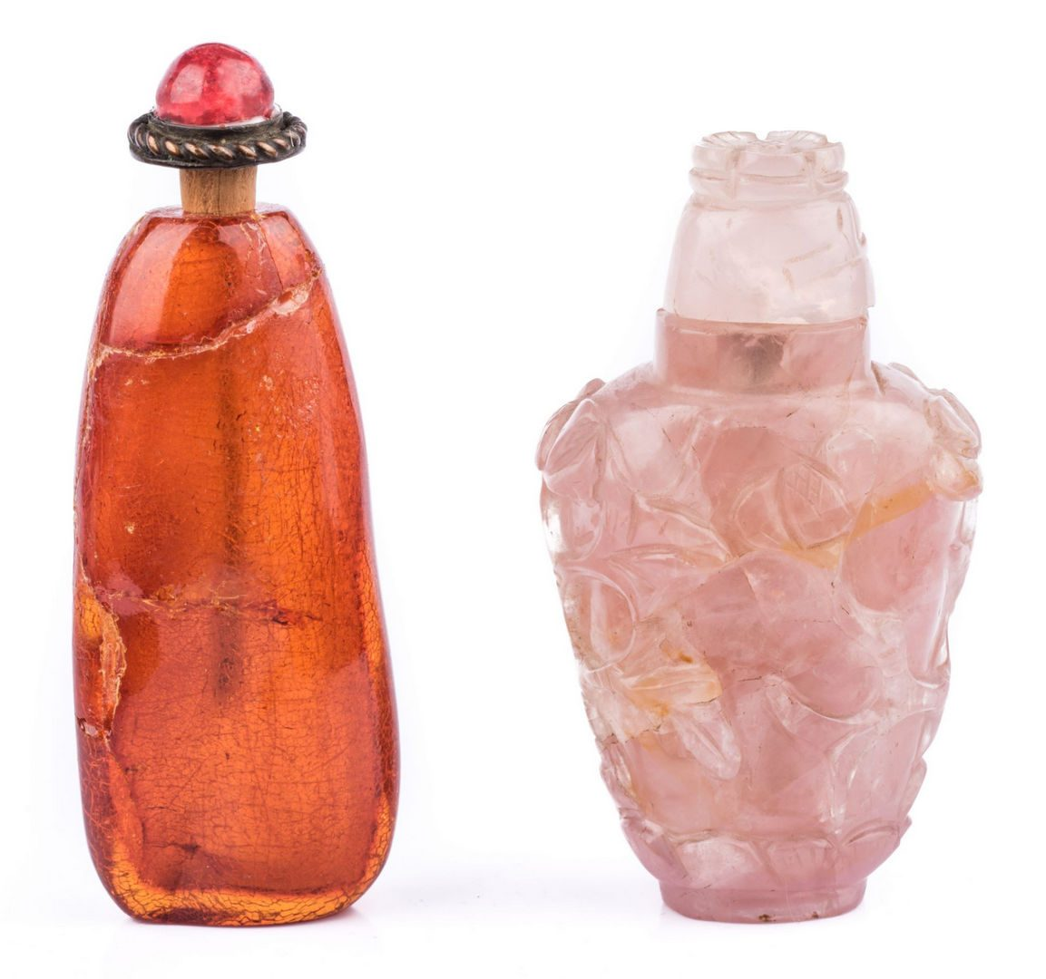 Lot 179: 2 Snuff Bottles including Rose Quartz
