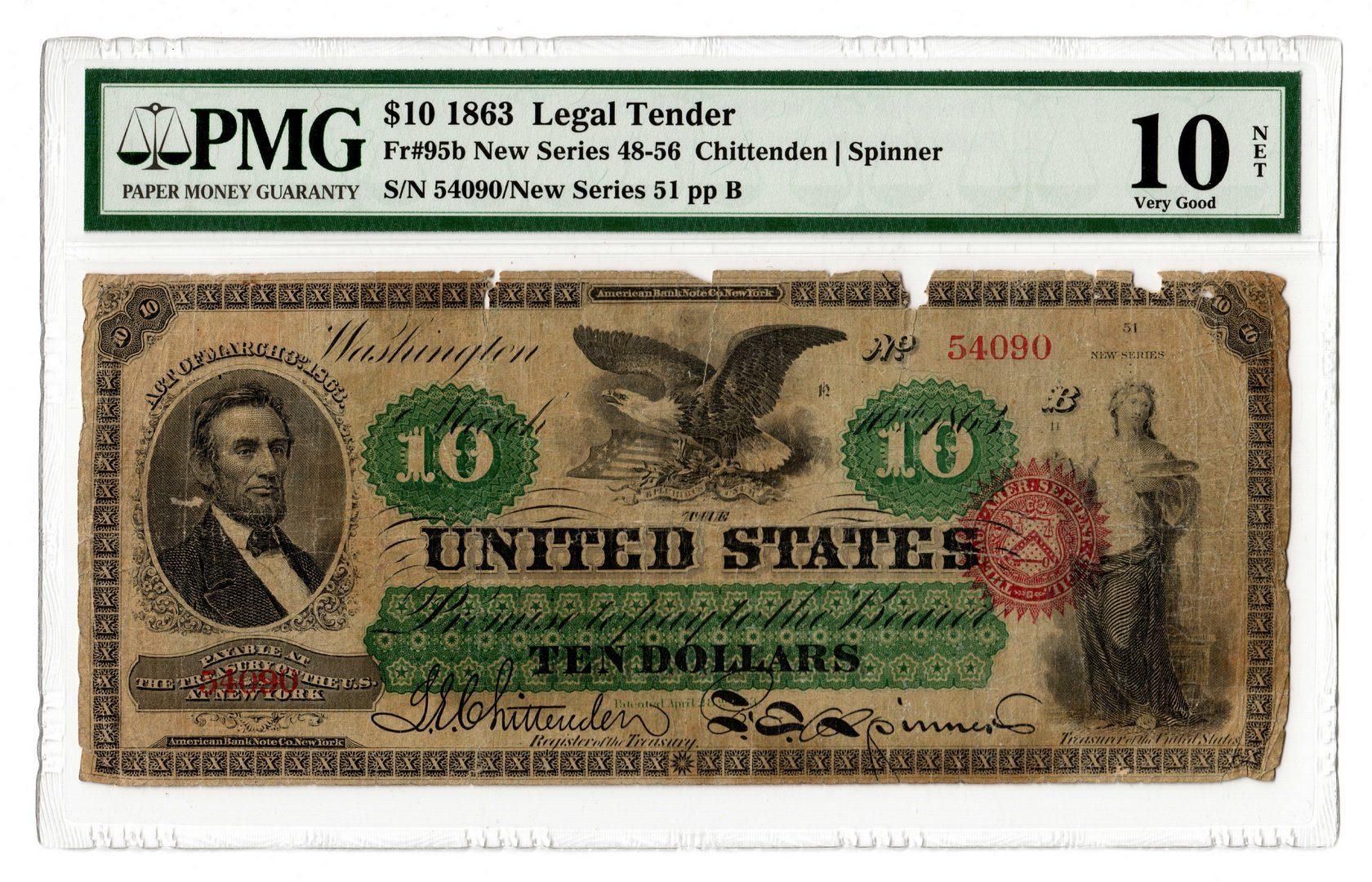 Lot 17: 1863 U.S. $10 Legal Tender Note