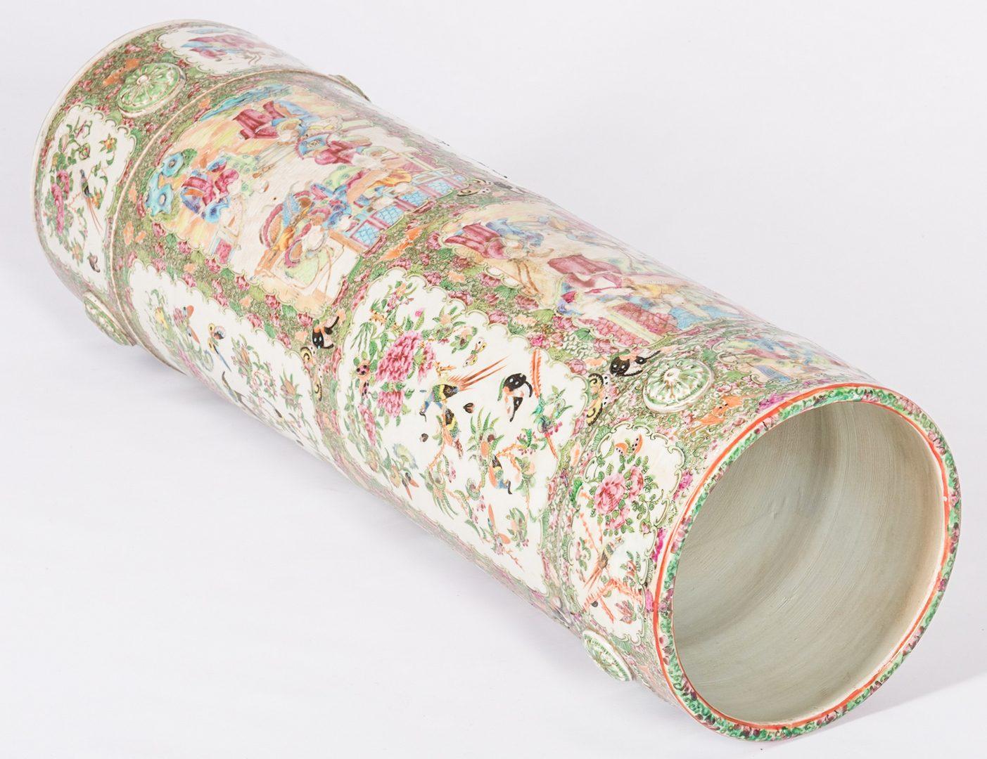 Lot 182: Rose Medallion Porcelain Umbrella Stand or Floor V