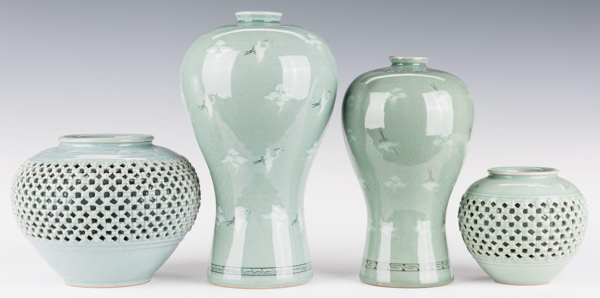 Lot 185: 4 Korean Porcelain Celadon Inlaid Vases