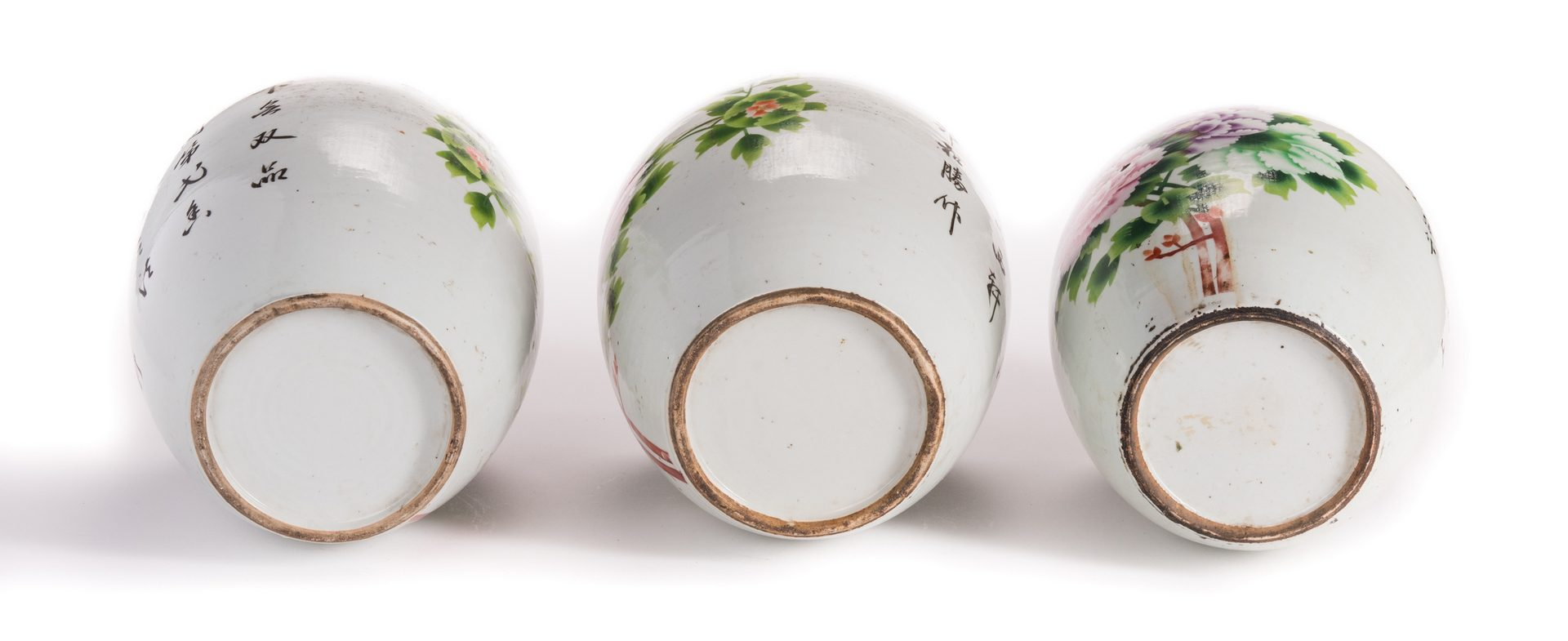 Lot 186: 3 Chinese Porcelain Ginger Jars w/Peonies