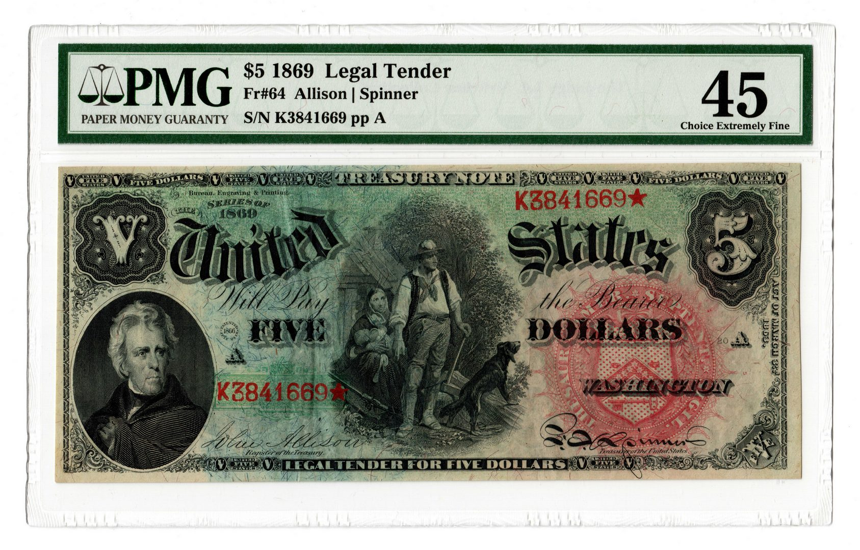 "Lot 18: 1869 U.S. $5 ""Rainbow Woodchopper"" Legal Tender Note"