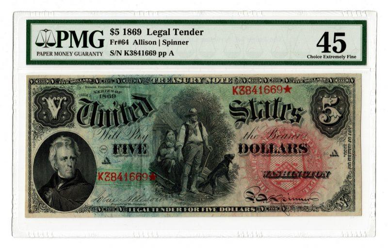 "Lot 18: 1869 U.S. $5 ""Rainbow Woodchopper"" Legal Tender No"