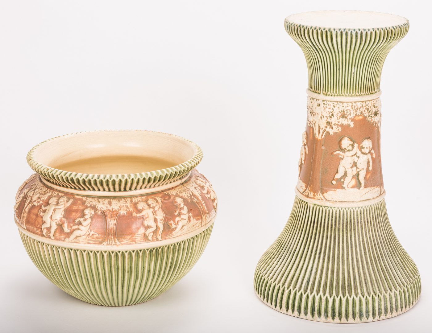 Lot 195: Roseville Donatello Art Pottery Jardinaire w/ Stan