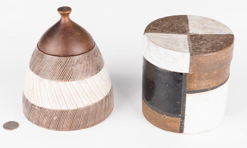 Lot 196: 2 Midcentury Ceramic Lidded Jars, Raymor
