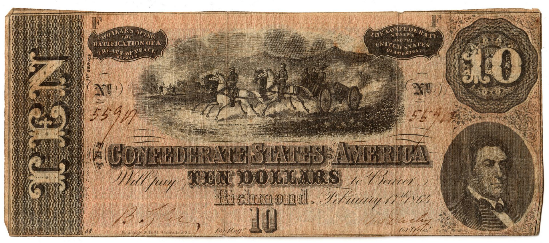 Lot 1: 2 Confederate & 3 Obsolete Banknotes