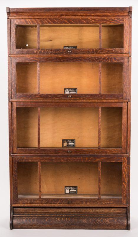 Lot 202: Viking 4-Stack Oak Sectional Bookcase