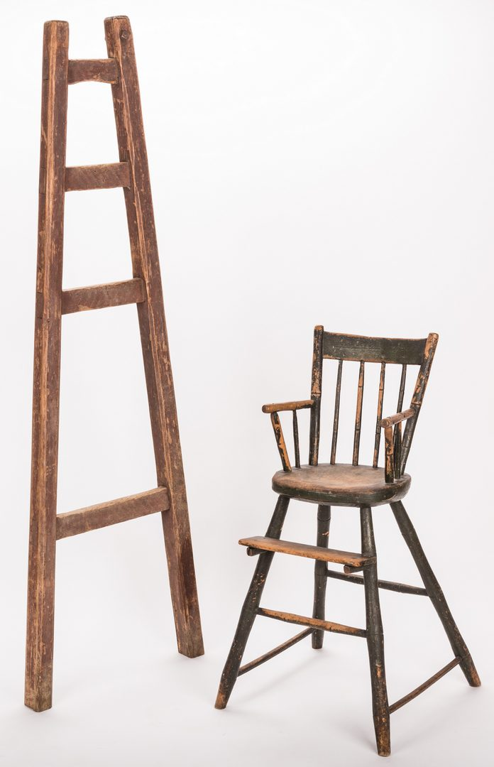 Lot 203: Southern Painted Chair & Ladder
