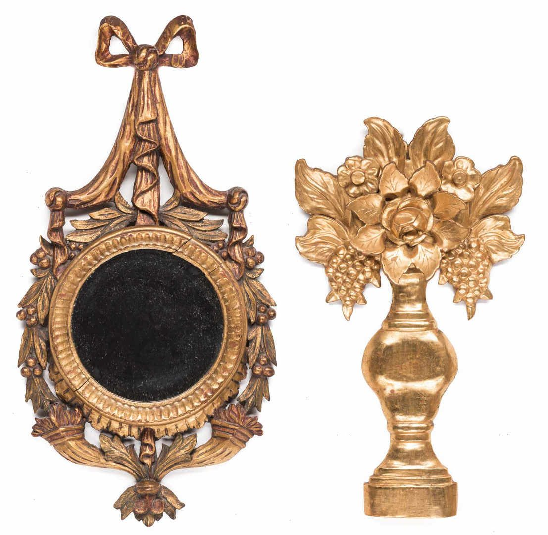 Lot 208: 2 Carved Gilt Wall Hangings, inc. Mirror