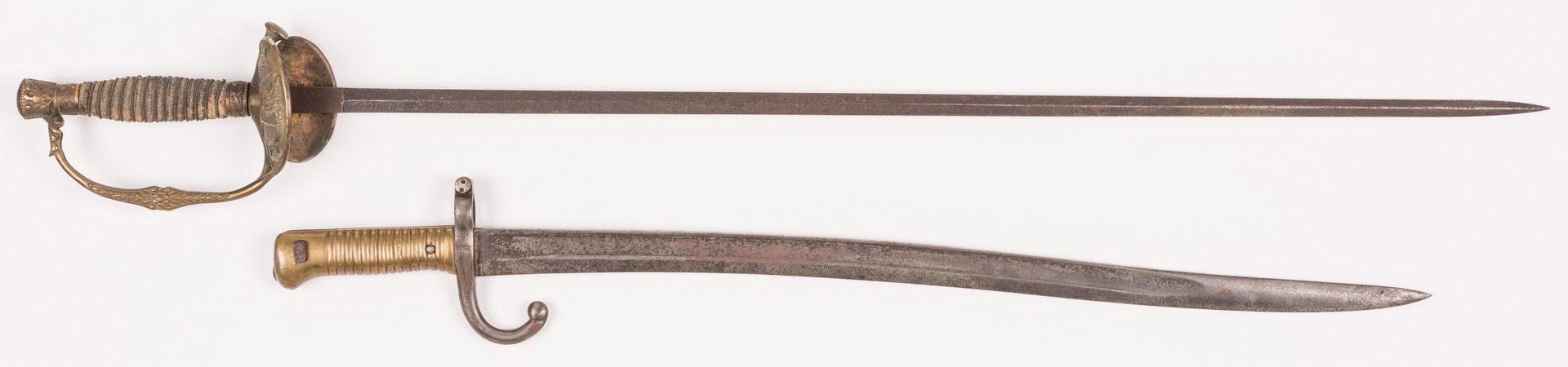 Lot 212: US Model 1860 Sword & French Saber Bayonet