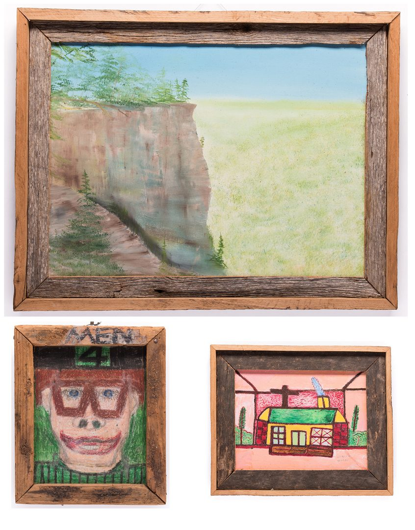 Lot 224: 3 Folk Art Paintings, inc. Bissonnette, Wood