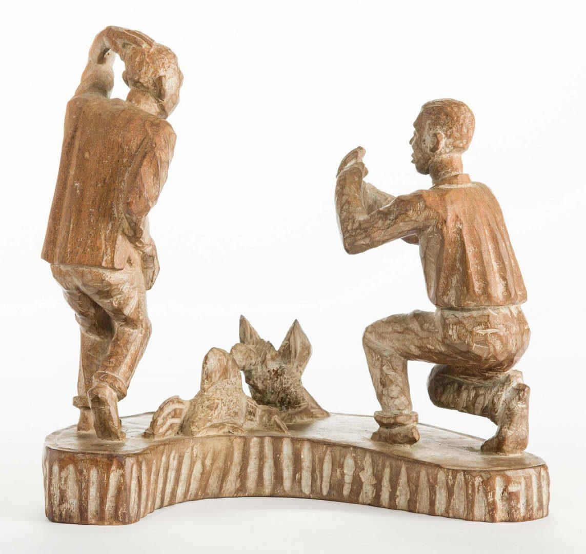 Lot 225: American Folk Art Carving, Cock Fighting