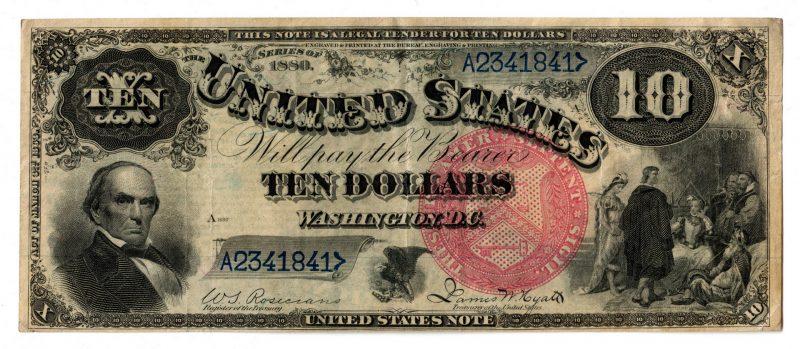 """Lot 22: 1880 U.S. $10 """"Jackass"""" Legal Tender Note"""