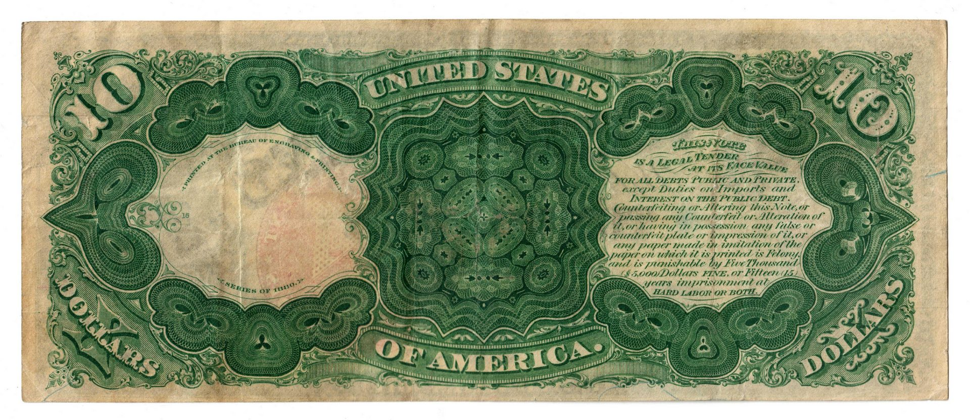 "Lot 22: 1880 U.S. $10 ""Jackass"" Legal Tender Note"