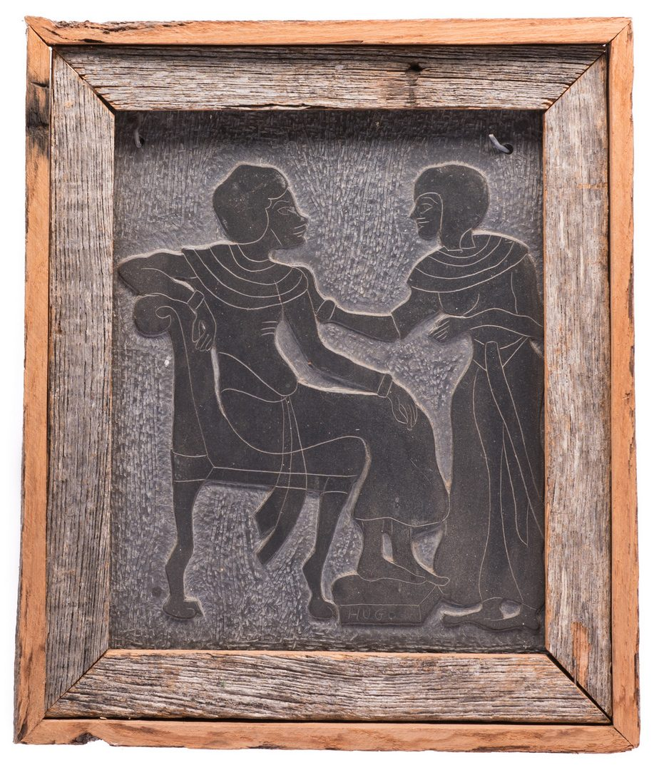 Lot 231: Folk Art Carving on Slate, signed Hugo