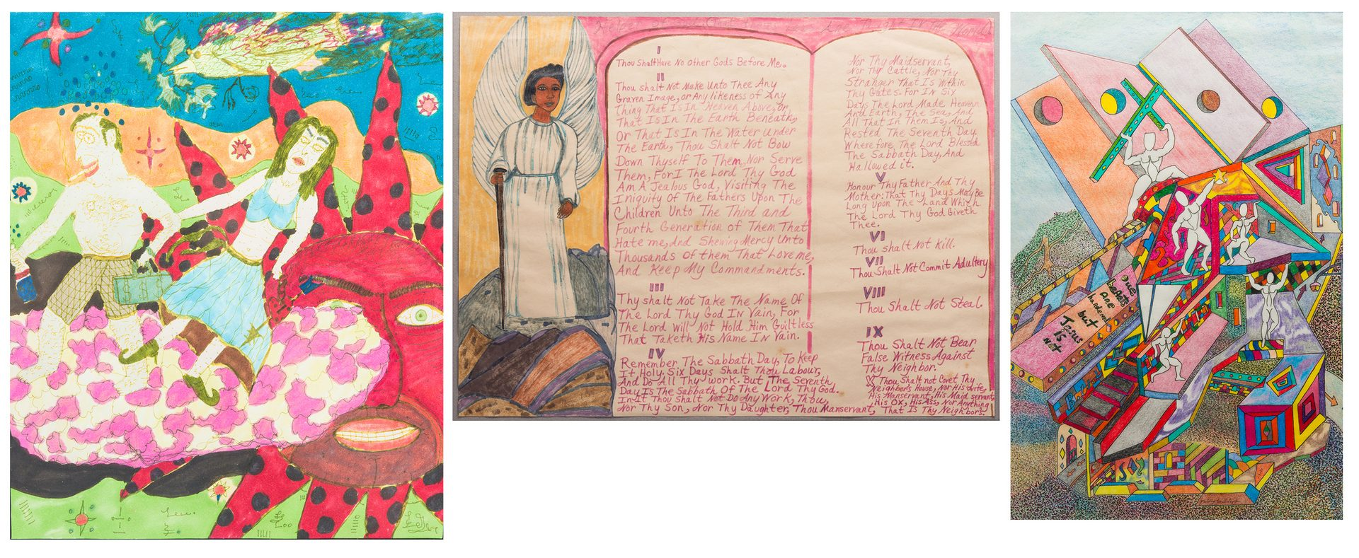 Lot 233: 3 Southern Folk Art Works on Paper