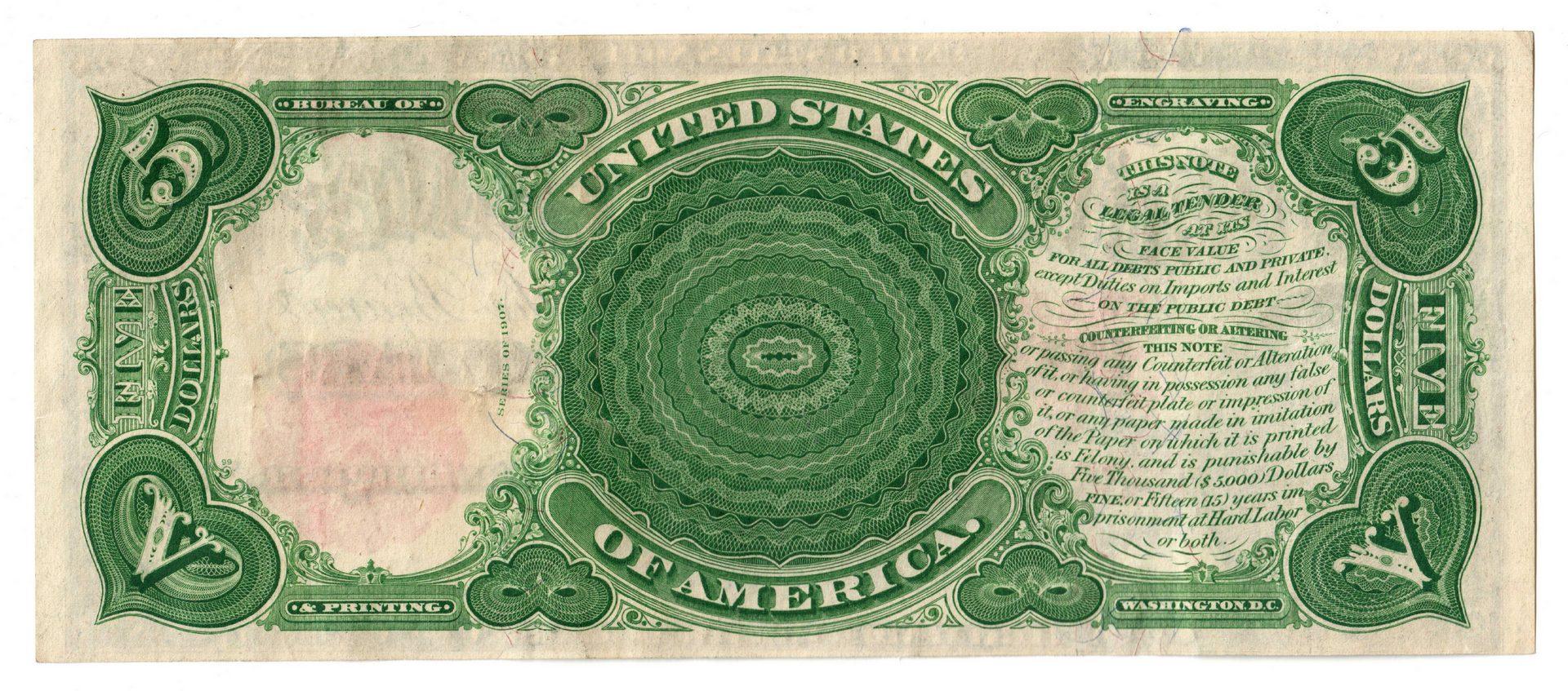 """Lot 23: 1907 U.S. $5 """"Woodchopper"""" Legal Tender Note"""