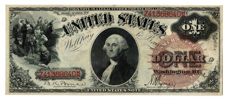 """Lot 24: 1880 U.S. $1 """"Sawhorse"""" Legal Tender Note"""