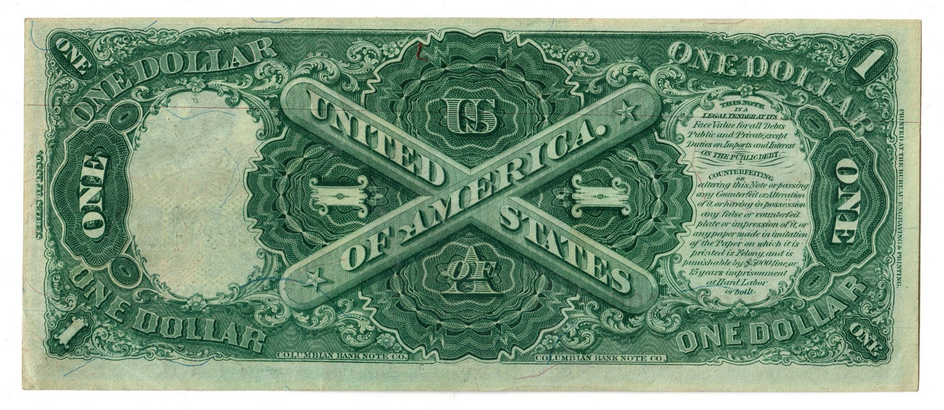 "Lot 24: 1880 U.S. $1 ""Sawhorse"" Legal Tender Note"