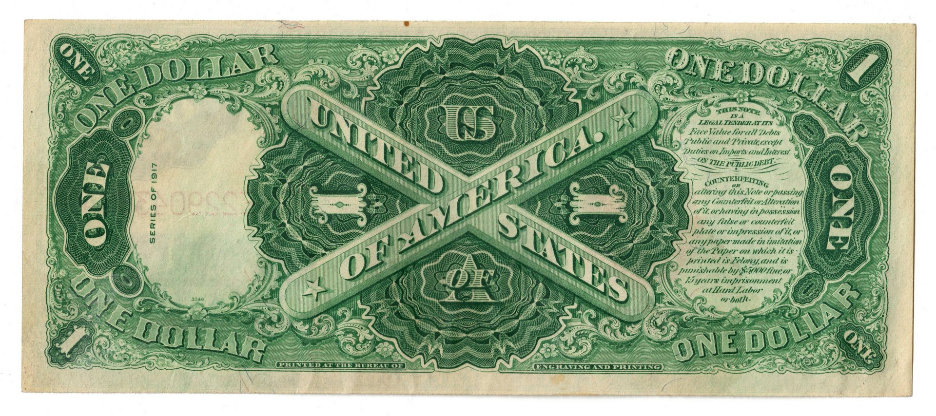 """Lot 25: 1917 U.S. $1 """"Sawhorse"""" Legal Tender Note"""