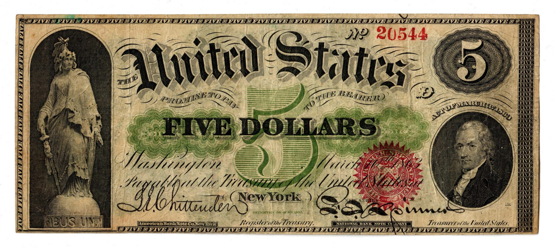 Lot 26: 1863 U.S. $5 Red Seal Legal Tender Note