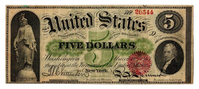 Lot 26: 1863 U.S. $5 Red Seal Legal Tender Note