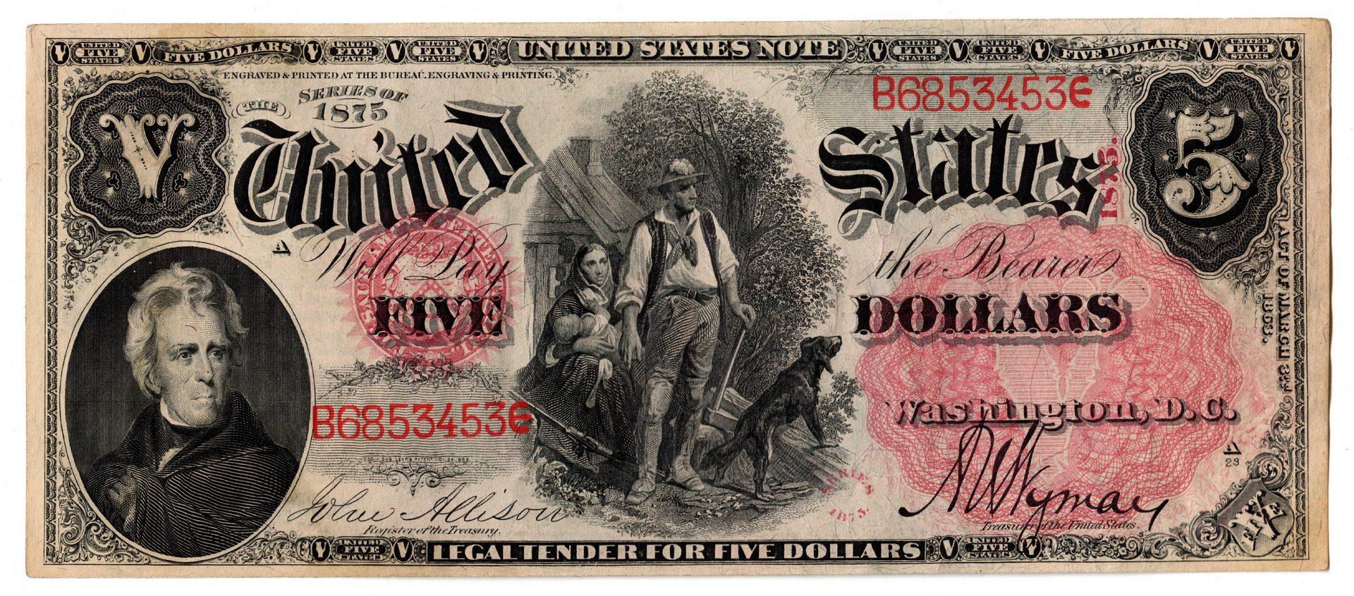 """Lot 28: 1875 U.S. $5 """"Woodchopper"""" Legal Tender Note"""
