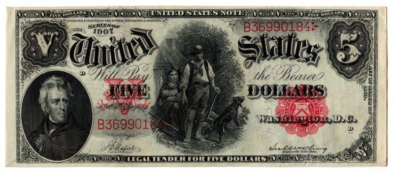 """Lot 29: 1907 U.S. $5 """"Woodchopper"""" Legal Tender Note"""