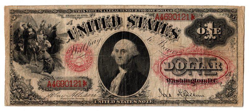 """Lot 30: 1878 U.S. $1 """"Sawhorse"""" Legal Tender Note"""
