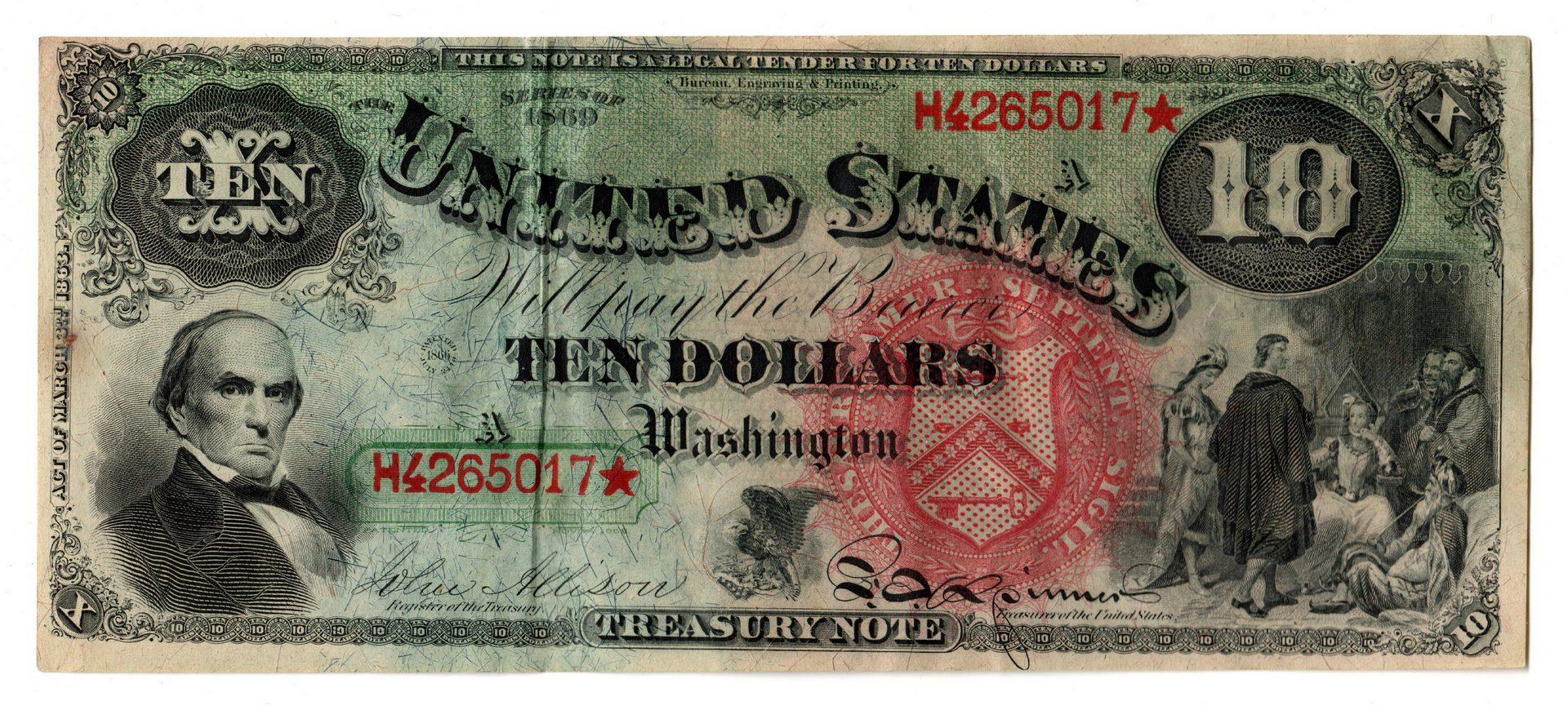 "Lot 31: 1869 U.S. $10 ""Rainbow Jackass"" Legal Tender"