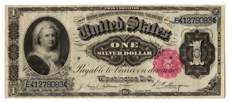 """Lot 32: 1891 U.S. $1 """"Martha"""" Silver Certificate"""