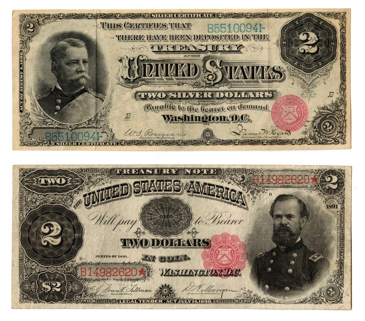 Lot 33: 1886 $2 Silver Cert & 1891 $2 Treasury Note