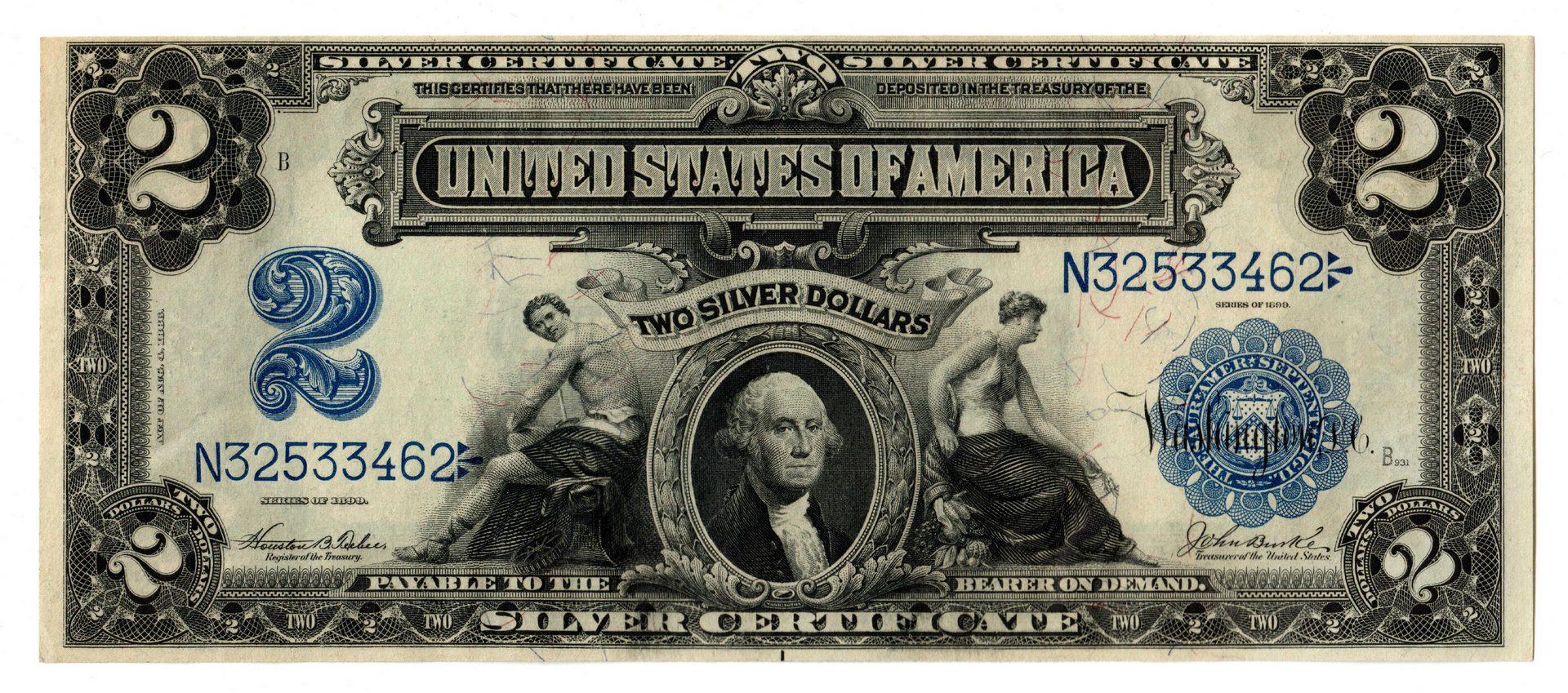 "Lot 34: 1899 U.S. $2 ""Mini-Porthole"" Silver Certificate"
