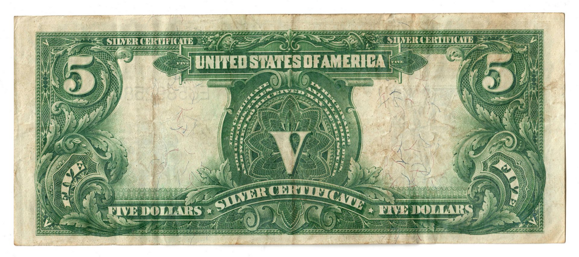 "Lot 35: 1899 U.S. $5 ""Indian Chief"" Silver Certificate"