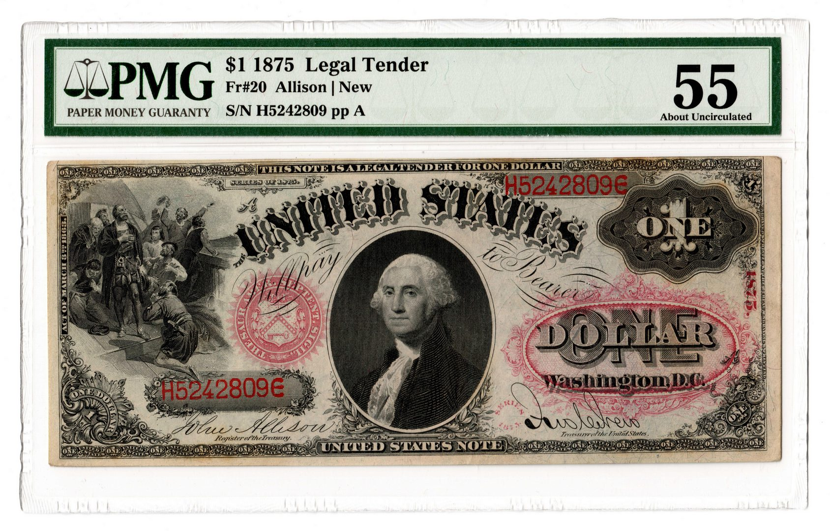 "Lot 38: 1875 U.S. $1 ""Sawhorse"" Legal Tender Note"