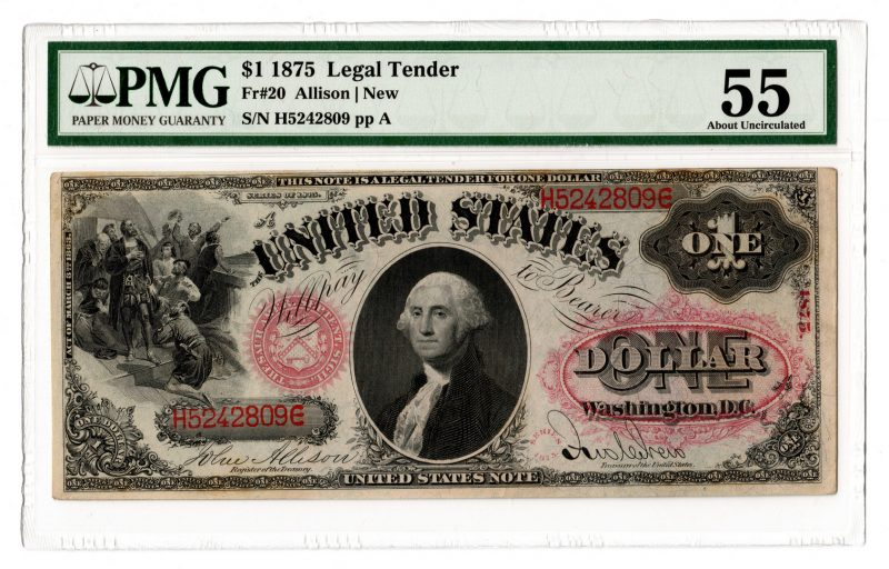"""Lot 38: 1875 U.S. $1 """"Sawhorse"""" Legal Tender Note"""