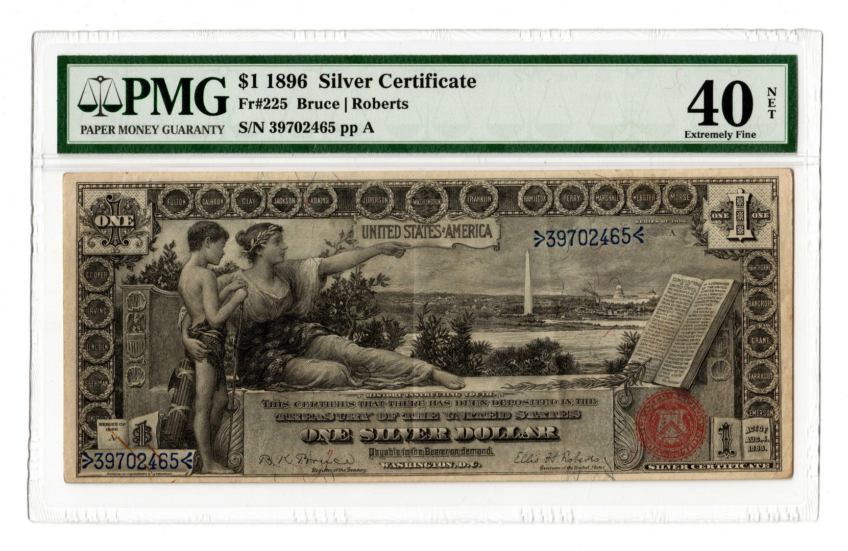 "Lot 39: 1896 U.S. $1 ""Educational"" Silver Certificate"