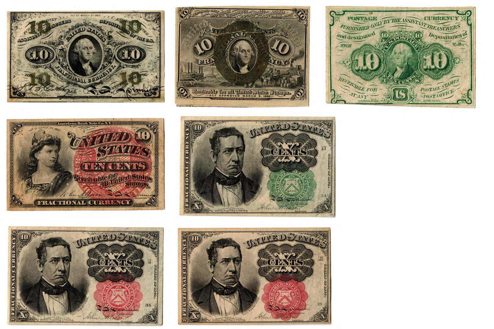 Lot 3: Group Of Seven 10 Cent  U.S. Fractional Banknotes